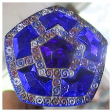 Cobalt Blue Glass Enameled Pentagon Victorian Hatpin