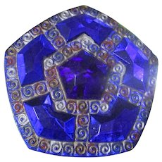 Cobalt Blue Glass Enameled Pentagon Victorian Hatpin