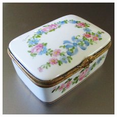 Lovely Vintage Limoges Bows  Roses Porcelain Box Signed