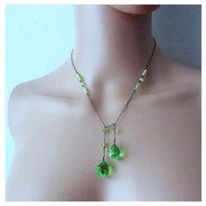 Vibrant Art Deco Crystal & Satin Glass Lime Green Sterling Lariat Necklace