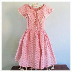 1900-1910  Young Lady's Summer Dress Beautiful Pink Lawn Print
