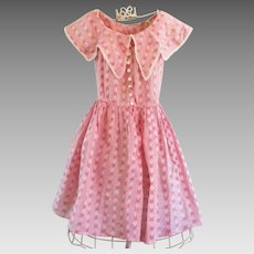 1900-1910  Young Lady's Summer Dress Beautiful Pink Calico Print