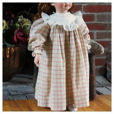 Antique Plaid Lace Doll Dress