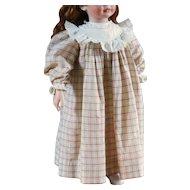 Antique Plaid Lace Doll Dress