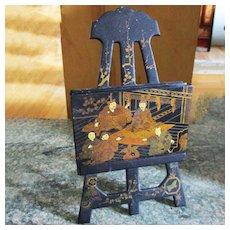 Miniature Paper Mâché Easel Chinoiserie/Japonaiserie, Antique 19th C For Dollhouse