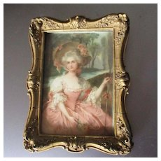 Wonderful Miniature Carved Frame With Lithograph For Dollhouse
