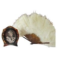 Feather Ostrich Fan & Coordinating Frame Celluloid