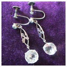 Edwardian Rock Crystal All Sterling Dangle Earrings