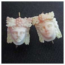 Antique Carved Angel Skin Coral Women's Faces  Grape Headdress