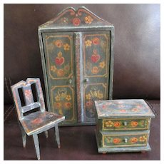 Antique German Dollhouse Suite Hand Painted
