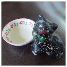 Vintage Miniature Wooden Painted Kitty Painted Milk Bowl Roses