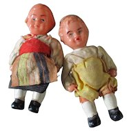 Brother & Sister Jointed Celluloid Dollhouse Dolls Dressed Edi Ger.