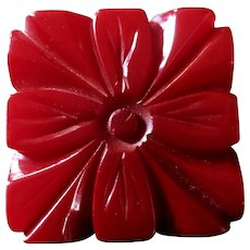 BIG Deeply Carved Deep Red Bakelite Button