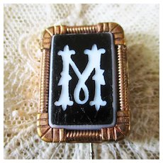 "Victorian Carved Black 7 White Onyx Stick Pin ""M"""