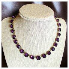 Purple Art Deco Graduated Crystal Choker