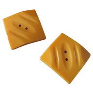 Creamed Corn Bakelite Square Carved Button Set