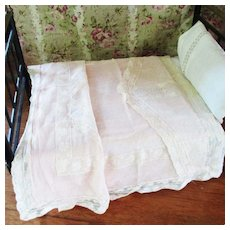 Beautiful Antique Point Esprit Embroidered Doll Bed Blanket