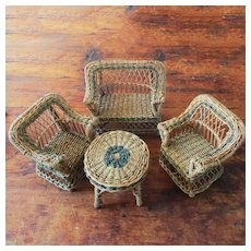 Darling Old Vintage Doll's Wicker Set