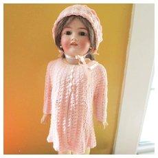 Vintage Bouclé  Matching knit Sweater Bonnet For larger Doll