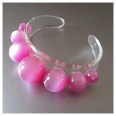 Adorable Pink 60's Lucite Bracelet