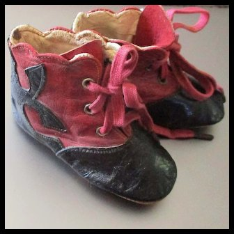 Adorable Cherry Red & Black Lace Up Leather Dolly Boots