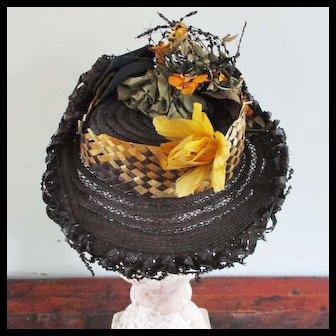 Fabulous Victorian Doll Bonnet Feathers Flowers Beading