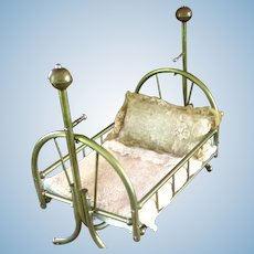 Brass Swinging Doll Bed Salesman Sample With Lace Bed Clothes