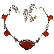 Art Deco Carnelian Marcasite Sterling  Necklace