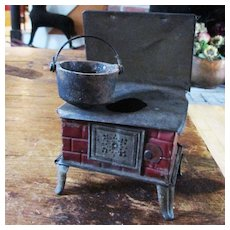 German Pressed Tin One Burner Stove With Old Cast Iron pot