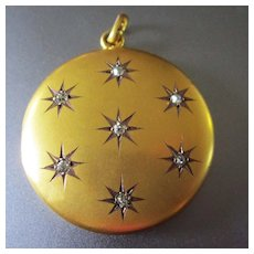 Exquisite Elegant 10K Brushed Gold Diamond Stars Antique Locket Dated 1902