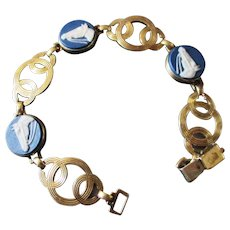 RARE Deco Symmetalic Cameo Horse Head Bracelet 14k over Sterling. Winner's Circle!