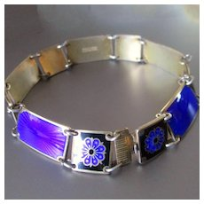 Stunning David Andersen Norway Sterling Gold Wash Cobalt Blue Guilloche  Black Enamel Floral Bracelet