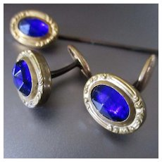 Antique Victorian Gold Filled Cobalt Glass Stick Pin Matching Cufflinks