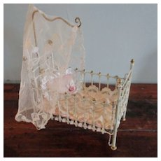 Marklin Painted Metal Dollhouse Crib Canopy with Baby
