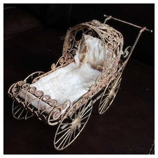 Vintage  Cannetille Filigree Doll Carriage For Dollhouse