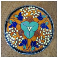 Beautiful Art Deco  Brass Powder Box Enameled