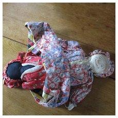 Topsy Turvy Cloth Doll 1920's Wonderful Fabrics Farm Scene