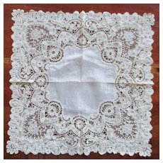 Exquisite Brussels Pointe Gaze Wedding Handkerchief With Provenance