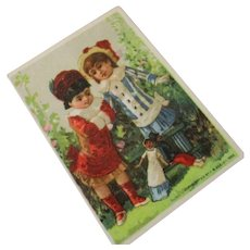 Antique Trade Card Children With Dollies Pacific Tea Co. 1882