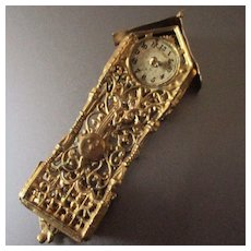 Soft Gilt Filigree Metal Dollhouse Wall Clock