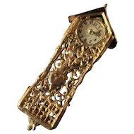 Soft Gilt Filigree Metal Dollhouse Wall Clock