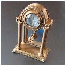 Beautiful German Dollhouse Gilt Mantle Clock Swinging Pendulum