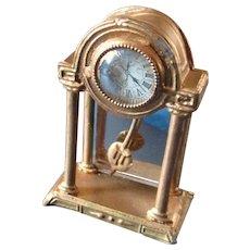 Beautiful German Dollhouse Gilt Mantle Clock Swinging Pendulum