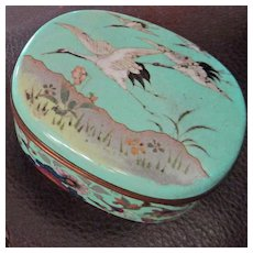 Japanese Cloisonné  Small Brass Box Flying Cranes Brocade Lined