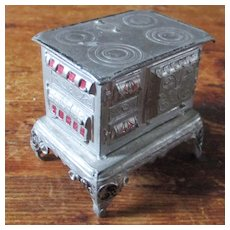FAO Schwarz Cast German Pewter Enamel Smaller Dollhouse Stove
