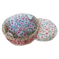 Art Deco Splint Pink Sewing Basket