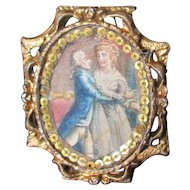 Serpentine Dollhouse Gilt Fancy Frame With Lithograph Of 19C Dancing Couple Cameo