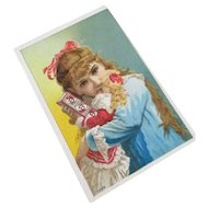Girl with Beautiful Dolly Advert Card