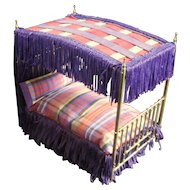 Older Clare Bell Brass Vintage Dressed Canopy Bed for Dollhouse