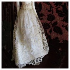 Exquisite 19C  Brussels Lace Skirt With Under Slip